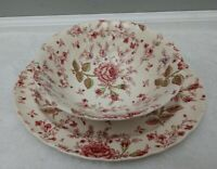 Vintage Johnson Brothers Pink Rose Chintz Serving Bowl and Tray Platter 11 5/8