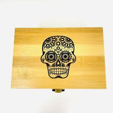Day of Death Bamboo Rolling Box Hardwood smoking box with glass jar and grinder