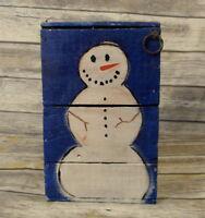 Primitive Snowman Wooden Box Prim Folk Art Christmas Farm Rustic Wood Decor VTG