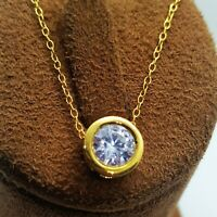 1ct 14Ct Yellow Gold Over Round Diamond BEZEL set Solitaire Pendant Necklace