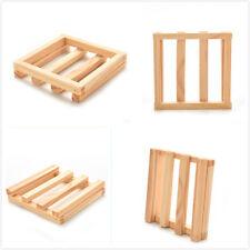 Natural Wood Wooden Soap Dish Storage Tray Holder Bath Shower Plate Bathroom PL