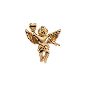 Cherub with Heart Lapel Pin In 14K Yellow Gold