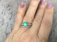 14 KT White Gold Diamond & Emerald Cut Emerald Pave Band Ring Vintage Estate