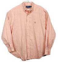 Polo Ralph Lauren Long Sleeve Oxford Shirt Solid Color Mens Sz XL Salmon Pink