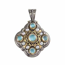 Byzantine Pendant Silver and Gold Aquamarine