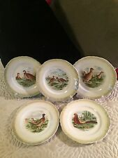 5 Beautiful Vintage Homer Laughlin Eggshell China Bird Dessert Plates/Lite Green