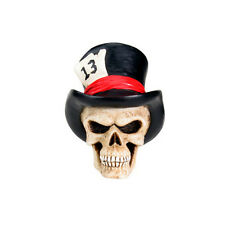 "Top Hat "" Lucky 13 "" Skull Bust Figurine. Cool Custom Shift Knob.Key. DIY 4724 S"