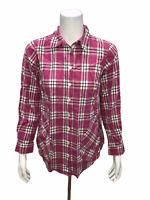 Joan Rivers Women's Plaid Shirt with Back Button Detail Blush XX-Small Size