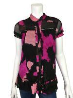 DVF Diane Von Furstenberg 0 Blouse Silk Black & Pink Floral Shirt Top size 0
