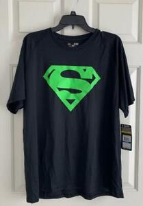 Under Armour Alter Ego DC Comics XL Superman Neon Green Logo Black Tee Shirt NEW