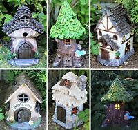 Solar garden decor large fairy house pixie outdoor ornament home Gift Xmas