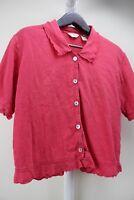 J. Jill Linen & Cotton Blend Pinkish Red Button Down Ruffled Cuff Top Size - Med