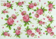 Rice Paper for Decoupage Scrapbook Craft Sheet - Texture with Rosebud