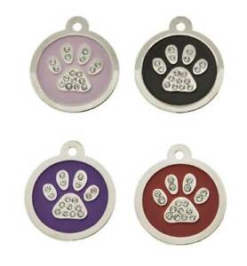 Crystal Round Paw Engraved Pet id Tags