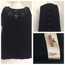 Hollister Loose Fit Vest Top Navy Blue with Back Buttons Sequins & Beads. Size S