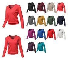 FashionOutfit Women's Solid V-Neck Soft Viscose Nylon Fabric Long Sleeve Sweater