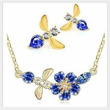 GOLD PLATED ROYAL BLUE DIAMANTE AUSTRIAN CRYSTAL FLOWER BEE NECKLACE EARRING SET