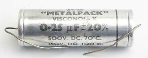 Capacitor Metalpack 0.25µF 500V Visconol-X TCC CP47S 5CZ/5718 Ex-RAF Vintage