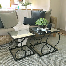 Set of 2 Black Metal Side Tables/Square Mirror Top/Coffee Table/Modern Bedside