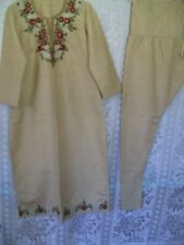 Indian Ethnic 2 Pcs Tussar Silk Embroidered Salwar-Kameez  Size-M Slightly Loose