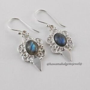 New 925 Solid Sterling Silver Natural Gemstone Earring Fine Labradorite Earring