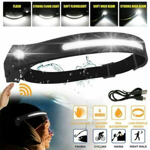 Head Torch Rechargeable Go Beam Head Lamp Bar LED COB Headlamp Head Light