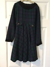 Ruth of Carolina Girl's Blue & Green Plaid Long Sleeve Dress–Girl's Sz 8 - EUC