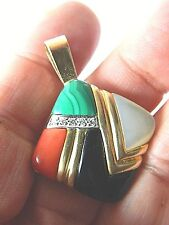 pendant- 14k gold-Malachite-coral-mop and onyx with diamonds