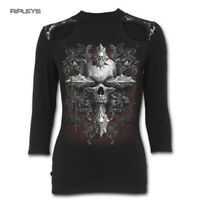 Spiral Direct Ladies Goth CROSS Of Darkness Skull Lace Top 3/4 Sleeve All Sizes