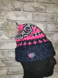 BNWOT SUPERDRY Pink Blue Bobble Hat
