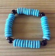 Chunky Natural Turquoise Rondelle Beads Black Onyx Copper Bracelet Mens Bracelet