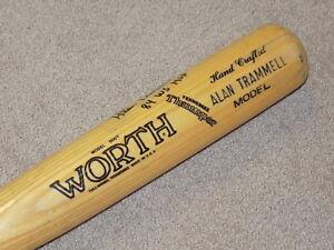 Alan Trammell Worth Game Used Signed Bat Detroit Tigers HOF JSA