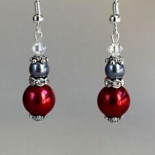 Vintage red dark grey pearl silver drop earrings wedding bridesmaid accessory