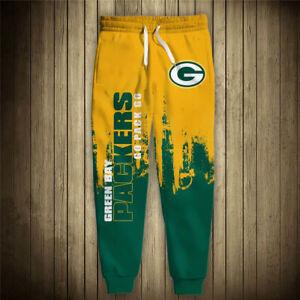 GREEN BAY PACKERS Sweatpants Polyester Sweats Pants S-6XL Football Team Fan NEW