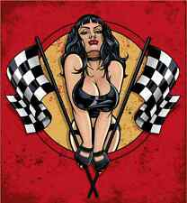 "Sexy Girl Racing Pit Stop Car Bumper Sticker Decal 5"" x 5"""