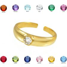 Cz Toe Ring Solid Gold Birthstone