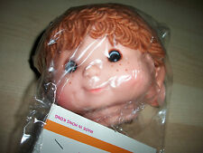 "Zim's Freckle Face Yarn Hair Plastic Doll Head with Hands 4"" x 4"" New"