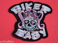 MOTORCYCLE CHOPPER SEW/IRON ON PATCH:- BIKER BABY SKULL & CROSSBONES PINK WIG