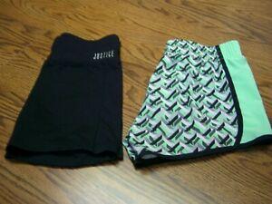 2 Girls' Justice Activewear Shorts/Black & Multi-color/Size 7-8