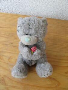 Carte Blanche Teddy Bär grau 13 cm mit Rose Plüschtier Stofftier Kuscheltier