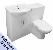 1150 BACK TO WALL BATHROOM VANITY 550 BASIN SINK WC UNIT TOILET CISTERN WHITE