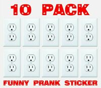 FUNNY ELECTRICAL OUTLET Stickers 10 Pack Prank Fake Joke Decal Sticker custom