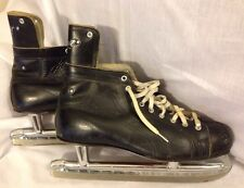 Vintage Daoust Black Leather Ice Hockey Skates Sz 12 Made In Canada Nhl Approved