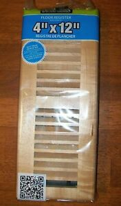 """Decor Grates WML412-N 4"""" by 12"""" Floor Register, Louvered Solid Natural Maple"""
