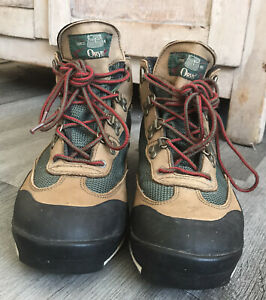 ORVIS Vtg Hiking Boots Brown Green Red Laces Sz 10/10.5 - OUTDOORS RUGGED