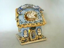 "Blue Sky Clayworks Heather Goldminc Candle House Holder w/ Dove ""Peace"""