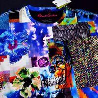Robert Graham Embroidered Skull Patchwork Print Graphic Knit T-Shirt Medium 168