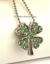 Silver Green Shamrock Necklace Irish Crystal Celtic St Patricks Day Plated