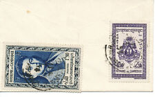 KAMBODSCHA 1954 1.90 P König Norodom Sihanouk u. 4.50 P Staatswappen kl. Kab.-Bf