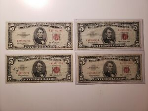 1953 1963 $5 Red Seal Five Dollar US Note